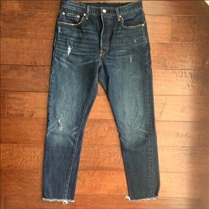 Like New Levi's 501 skinny distressed ankle fray